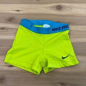 Nike pro neon yellow spandex shorts size small